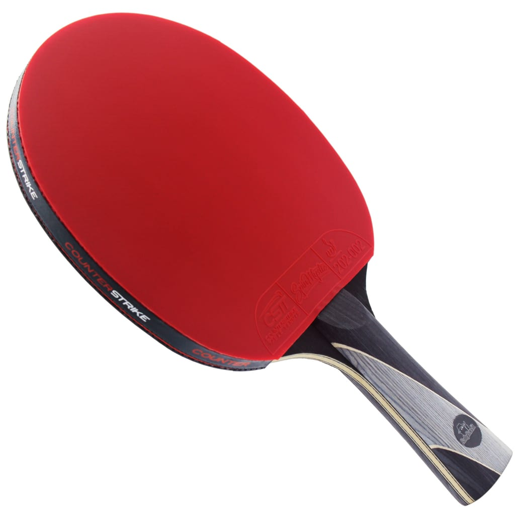 Rally Bandit Paddle (Spin Mystic Rubber)   Pre-Assembled Paddles   Pre-Made Paddles   Table Tennis Paddles   Ping Pong Paddles   CounterStrike Table Tennis   Side Vertical Angled