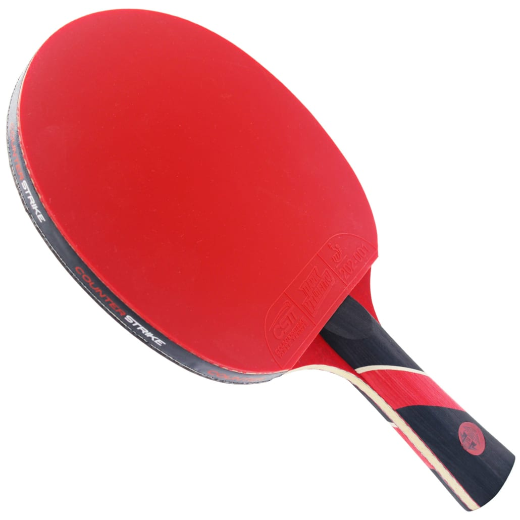 Red Widow Paddle (Dark Velocity Rubber)   Pre-Assembled Paddles   Pre-Made Paddles   Table Tennis Paddles   Ping Pong Paddles   CounterStrike Table Tennis   Vertical Side Angled