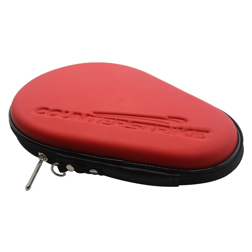 Table Tennis Paddle Hard Case | Ping Pong Paddle Hard Case | Water Resistant | Red | Side Angle View