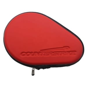Table Tennis Paddle Hard Case | Ping Pong Paddle Hard Case | Water Resistant | Red | Top Angle View