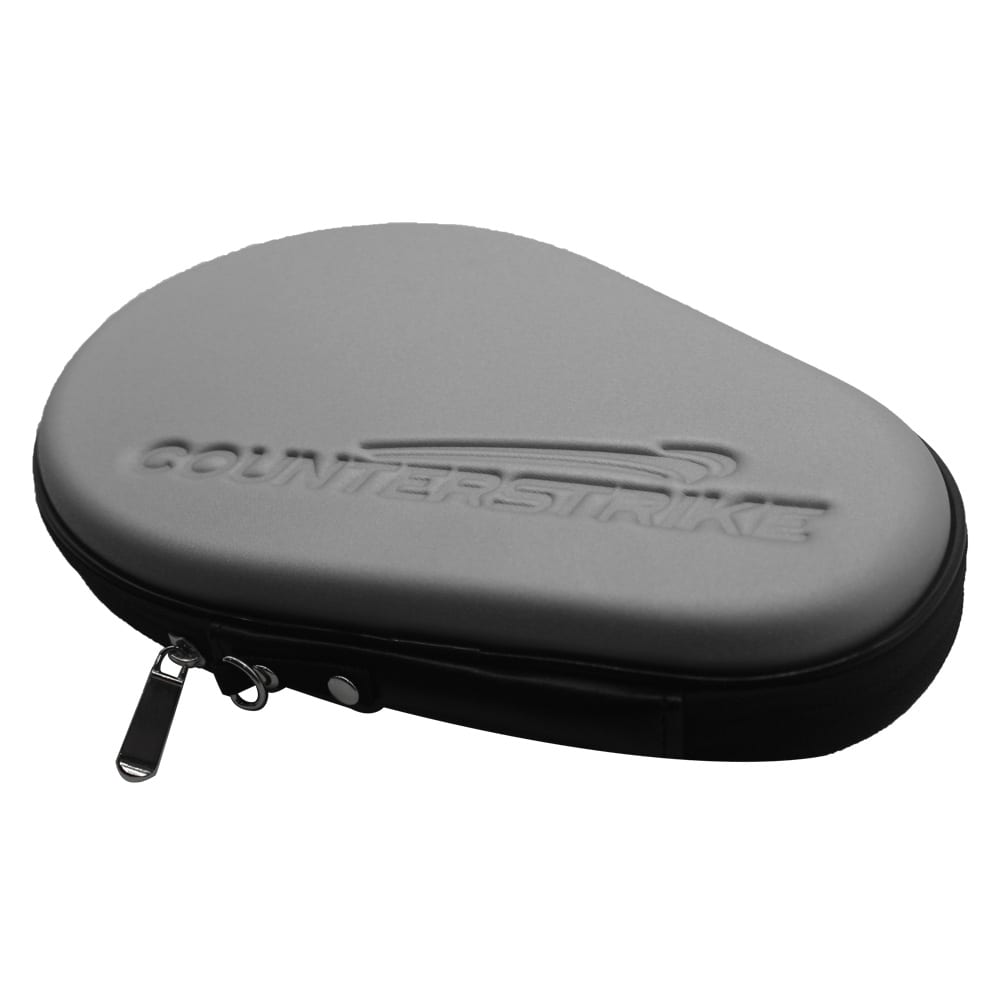 Table Tennis Paddle Hard Case | Ping Pong Paddle Hard Case | Water Resistant | Silver | Side Angle View