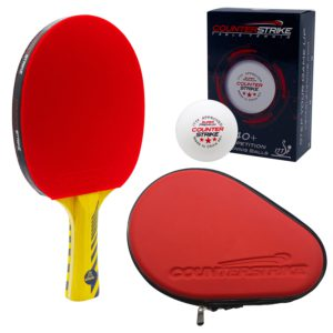 Alpha Dog Paddle BUNDLE with Red Hard Case and 6 Balls | Pre-Assembled Paddles | Pre-Made Paddles | Table Tennis Paddles | Ping Pong Paddles | CounterStrike Table Tennis | Vertical Side Angled