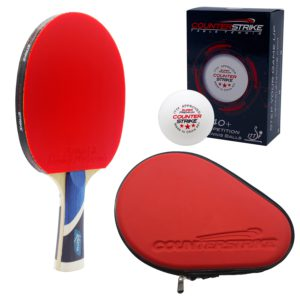 Karma Paddle BUNDLE with Red Hard Case and 6 Balls | Pre-Assembled Paddles | Pre-Made Paddles | Table Tennis Paddles | Ping Pong Paddles | CounterStrike Table Tennis | Vertical Side Angled