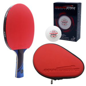 Phantom Light Paddle BUNDLE with Red Hard Case and 6 Balls | Pre-Assembled Paddles | Pre-Made Paddles | Table Tennis Paddles | Ping Pong Paddles | CounterStrike Table Tennis | Vertical Side Angled