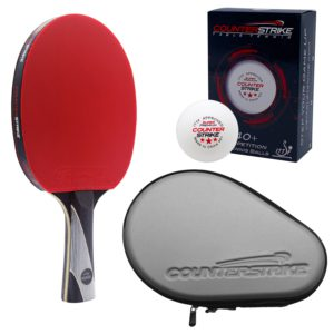 Rally Bandit Paddle BUNDLE with Silver Hard Case and 6 Balls | Pre-Assembled Paddles | Pre-Made Paddles | Table Tennis Paddles | Ping Pong Paddles | CounterStrike Table Tennis | Side Vertical Angled