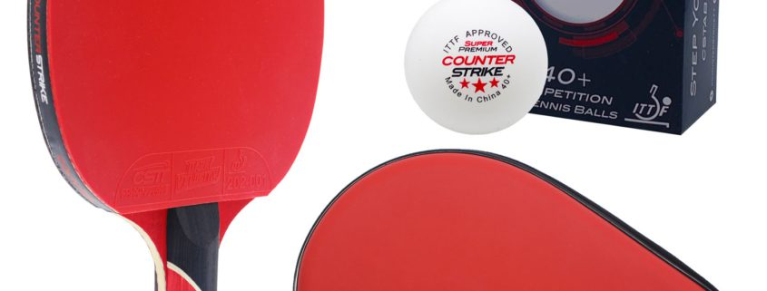 Red Widow Paddle BUNDLE with Red Hard Case and 6 Balls | Pre-Assembled Paddles | Pre-Made Paddles | Table Tennis Paddles | Ping Pong Paddles | CounterStrike Table Tennis | Vertical Side Angled